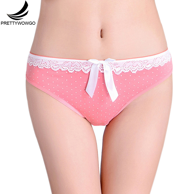 Prettywowgo New Underwear 2019 Dot Print Women Hipster Cute Bow Cotton   Panties   6815