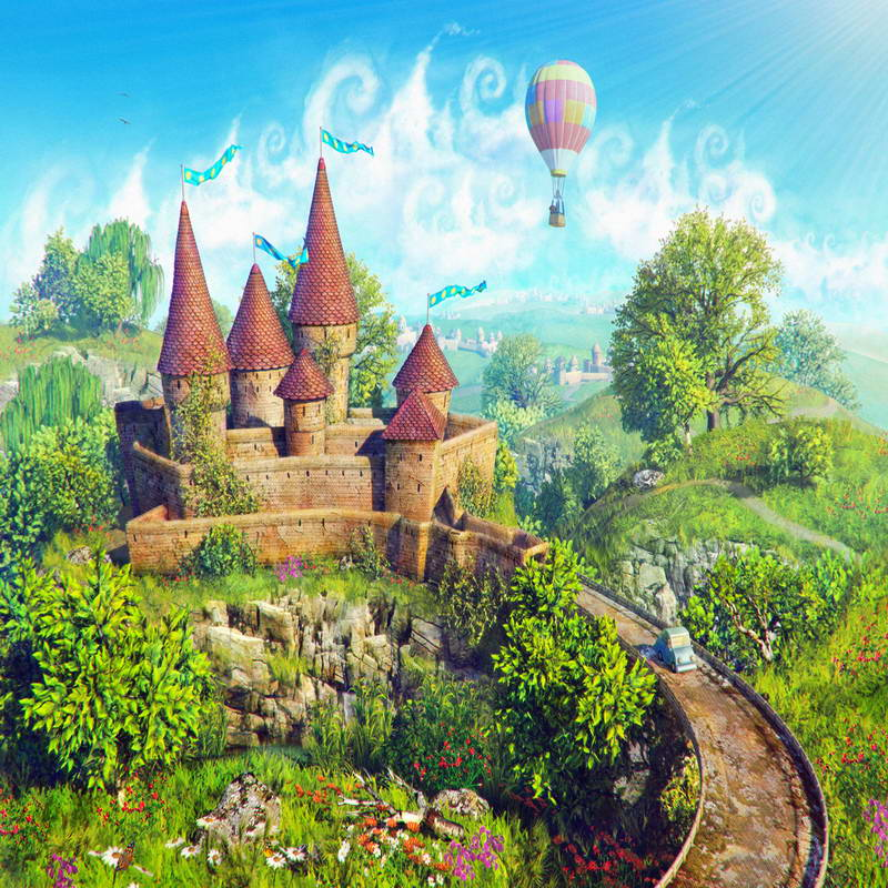 8x8ft spring green hills medieval castle up balloons blue sky custom photography studio