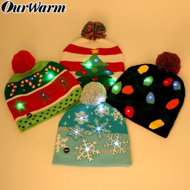 OurWarm LED Christmas Beanie Ugly Christmas Sweater Christmas Hat Beanie  Light Up Knitted Hat for Children Adult Christmas Party b6c3774b7b49