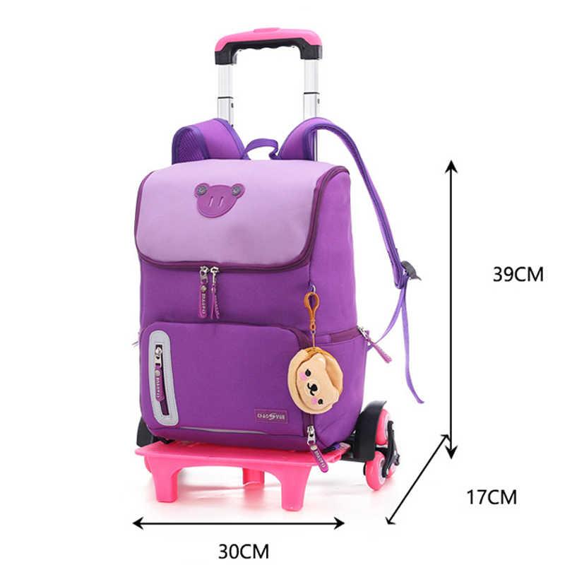 Klasy 2-6 dla dzieci chłopcy dziewczęta wózek tornister bagaż torby książki plecak najnowsze wymienne torby szkolne dla dzieci na 2/6 koła schody