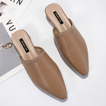 Moxxy Low Heel Slippers Fashion Brand Mule Shoes Pointed Toe Slides Sandal Ladies PU Leather Zapatos Mujer Casual