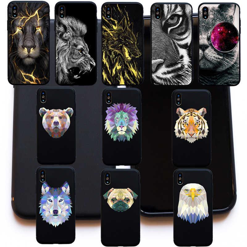 Fajne geometryczne zwierzęta tygrys lew niedźwiedź wilk pies miękkie etui Case dla iphone 6 6s Plus 5S SE 8 7 Plus X XS Max XR Funda Coque Case