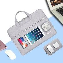 Сумка для ноутбука из искусственной кожи, чехол для Macbook Pro 13 15 mac book air 13 14 дюймов, рукав для ноутбука 15,6, женская и мужская водонепроницаемая сумка для ноутбука
