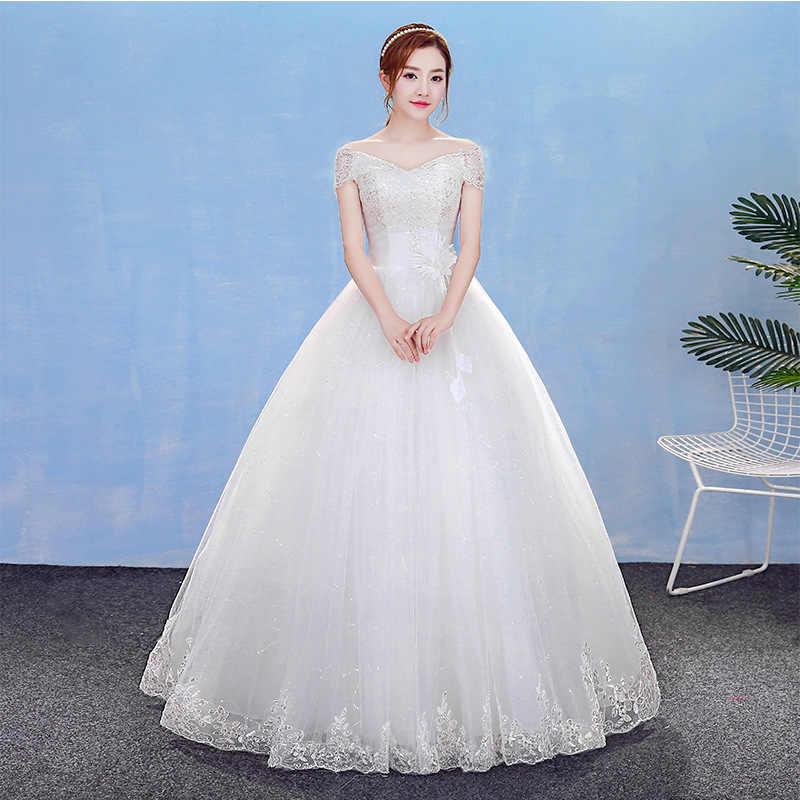 כדור שמלת חתונת שמלת 2019 חדש ארוך הכלה שמלת כבוי כתף נצנצים תחרה Robe Mariage 2018 כלה שמלות זול ב המניה