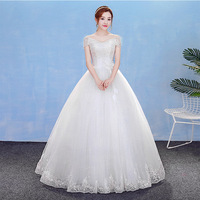 Ball Gown Wedding Dress 2019 New Long Bride Dress Off Shoulder Sequin Lace Robe Mariage 2018 Bridal Gowns Cheap In Stock