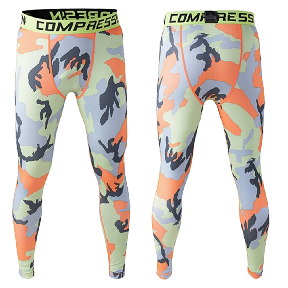 Men Compression Long Pants Running Base Layers Skins Tights Army Camouflage Soccer Joggers Trousers(Yellow Orange )