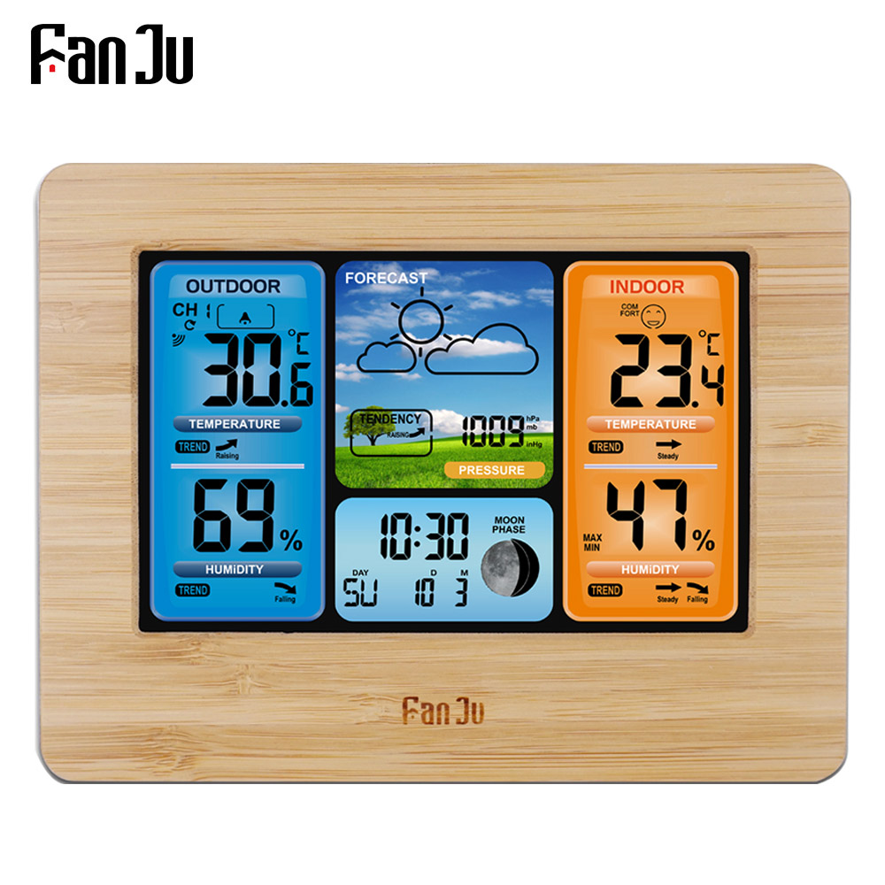 FanJu FJ3373 estación meteorológica barómetro termómetro higrómetro inalámbrico Sensor pantalla LCD pronóstico del tiempo reloj despertador Digital