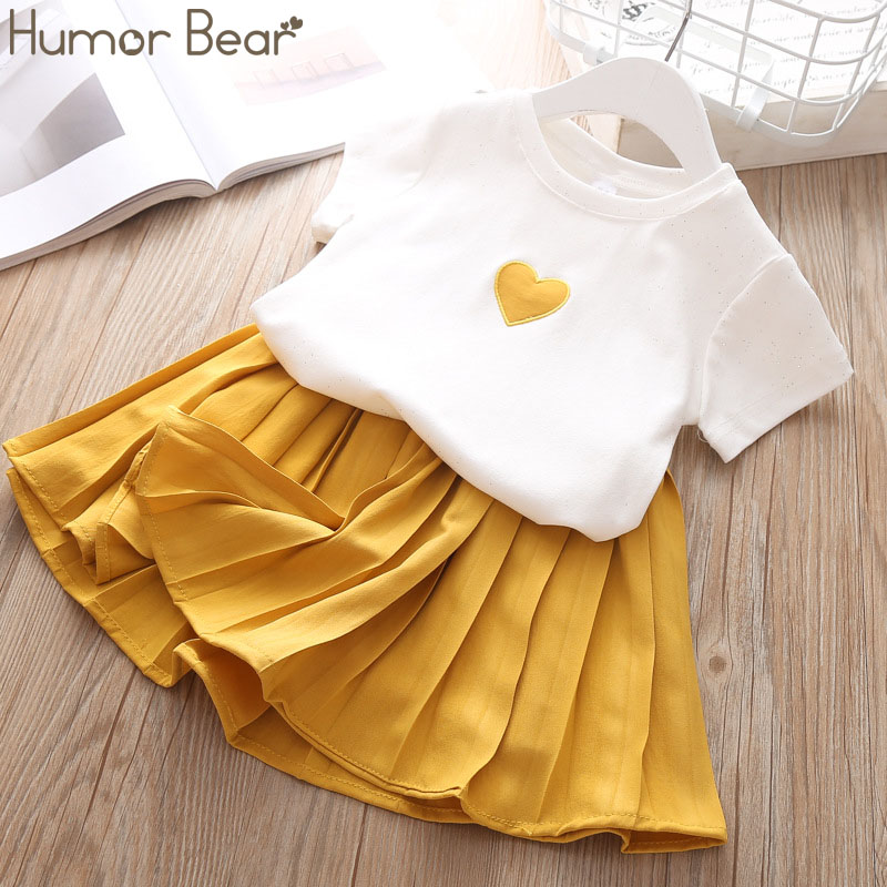 Humor Bear Children Girls Clothing Set 2019 NEW Baby Girl Clothes Love Tops+Pleated Student Skirt Suit Kids