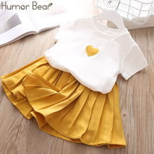 Humor Bear Children Girls' Clothing Set 2019 NEW Baby Girl Clothes Love Tops+Pleated Student Skirt Girls Suit Baby Kids Clothes humor bear girl dress tassel style girls clothes t shirt pants kids clothing set girls clothing sets baby kids clothes