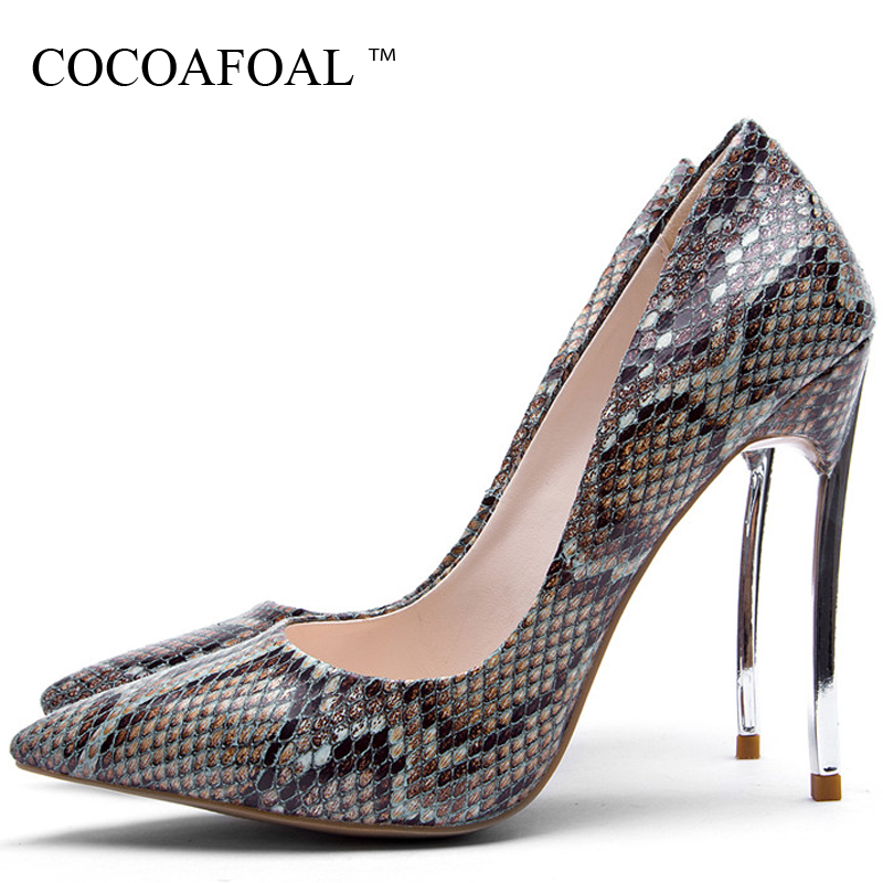 COCOAFOAL Woman High Heels Shoes Sexy Plus Size 33 - 43 Pointed Toe Snakeskin Shoes Party Stiletto Brown Gray Apricot Sexy Pumps cocoafoal woman pointed toe pumps pink black brown fashion sexy high heels shoes snakeskin genuine leather career pumps 2017