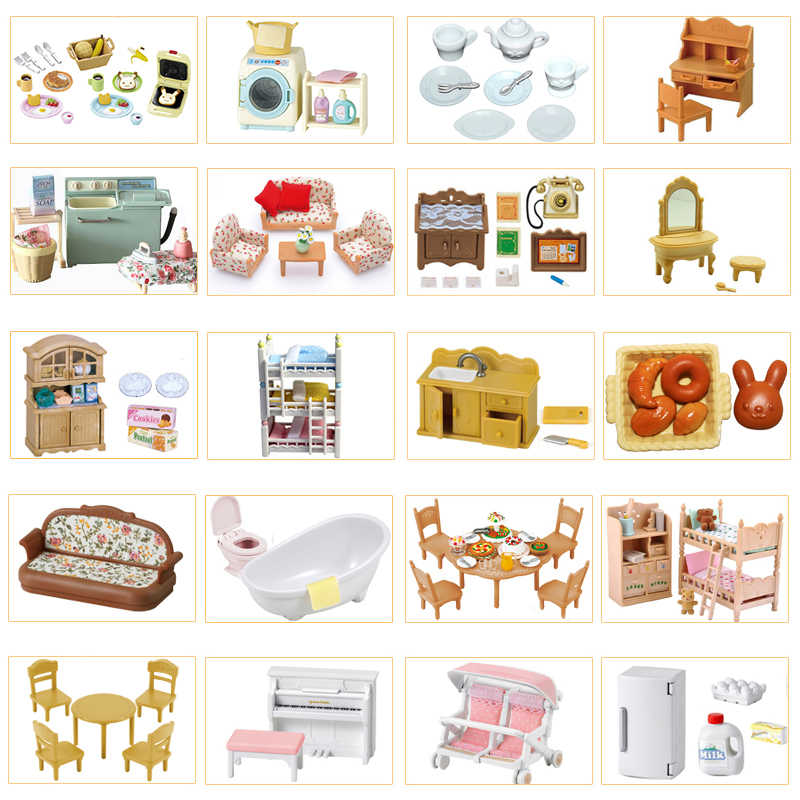 Sylvanian Families Dollhouse Playset Furniture/Kitchen/Bathroom/Food Scene Accessories New No Figure