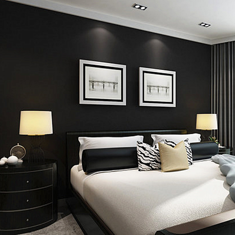 Bacaz Black Solid Silk Wallpaper Roll For Ceiling Bedroom