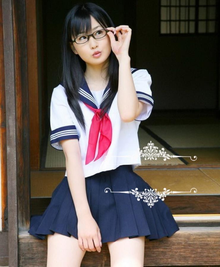 Japanese School Uniforms JK Sailor Mavy Short-sleeved T Shirt College Suit Skirt Female  ...