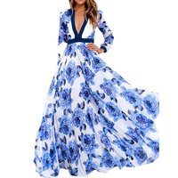 New 2017 Fashion Women S Long Sleeve Vintage Blue And White Print Dress Brand Maxi Dress