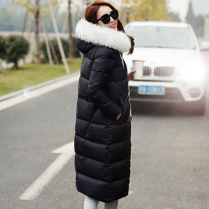 2015 Hot New Thicken Warm Woman Down jacket Coat Parkas Outerwear Luxury Hooded Raccoon Fur collar Long Slim  Plus Size 3XXXL 2015 hot new thicken warm woman down jacket coat parkas outerwear raccoon fur collar luxury slim long plus size xl hooded splice