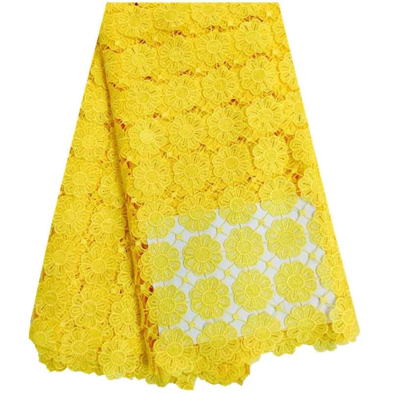 2018 prix de gros couleur jaune nigérian dentelle cordon dentelle tissu brodé africain Guipure dentelle pour robe de mariée 227-in Dentelle from Maison & Animalerie    1