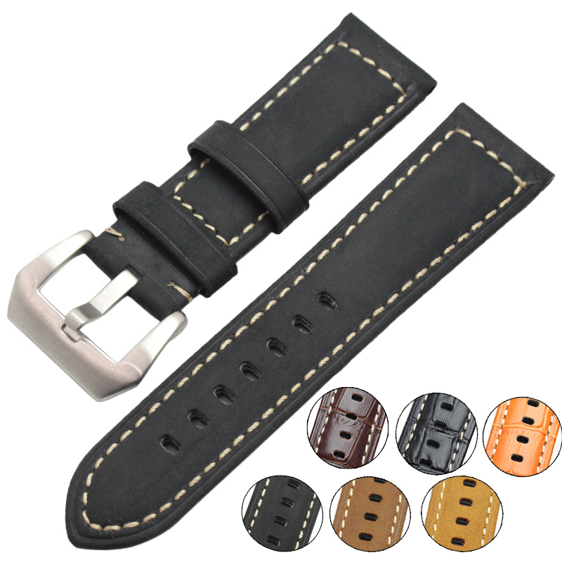 Handmade Retro Watchbands 22mm 24mm Men Genuine Leather Classical Soft Watch Band Strap Silver Buckle Relojes Hombre цена