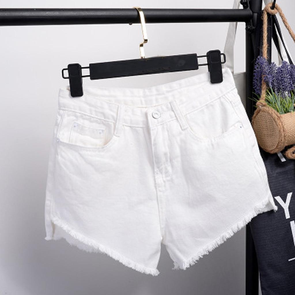 Elegant Ripped Hem Denim Shorts 2020 Pocket Tassel Women Jeans Denim Pants Female High Waist Slim Sexy Shorts джинсы женские