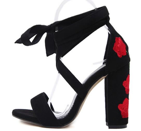 Cheap Price Hot Selling American and European Red Embroider flower Square Heels Shoes Lace upCrossed-tied Women Sandals