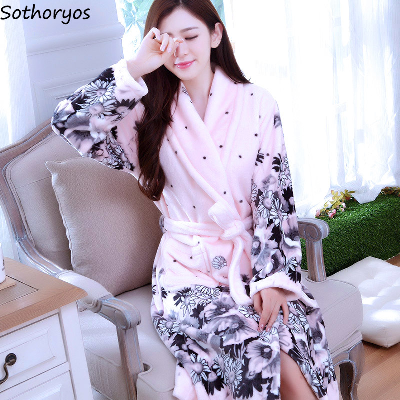 Image 2 - Robes Women Thicker Turn down Collar Pockets Warm Long Sleeve Printed Kawaii Bathrobes Womens Mid calf Flannel Trendy Homewear-in Robes from Underwear & Sleepwears