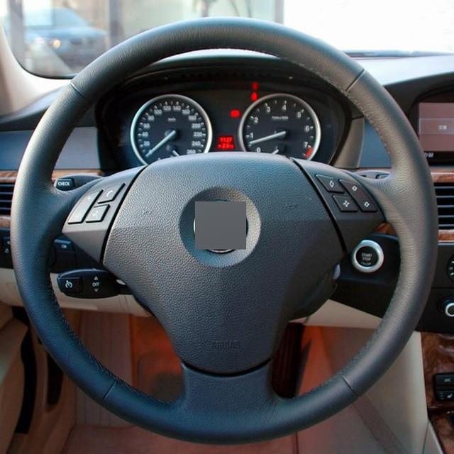 Black Leather Hand-stitched Car Steering Wheel Cover for BMW E60 E61 520i 520li 523 523 523li 525 525i 530 530i 535 545i