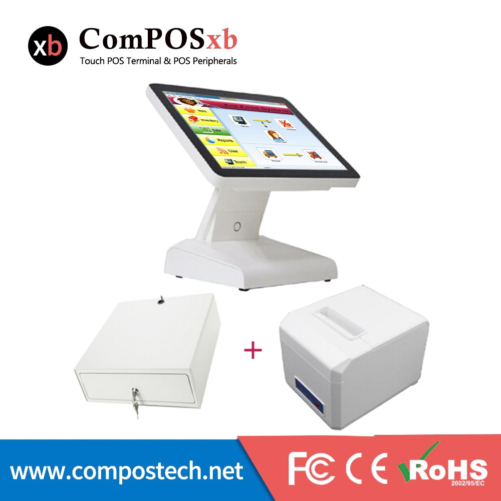 Hot Sell Electronic Cash Register Machine / Single Screen Retail Pos System Set All In One Epos System For Restaurant free shipping pos system 15 inch windows touch screen retail shop equipment epos machine black and white color options
