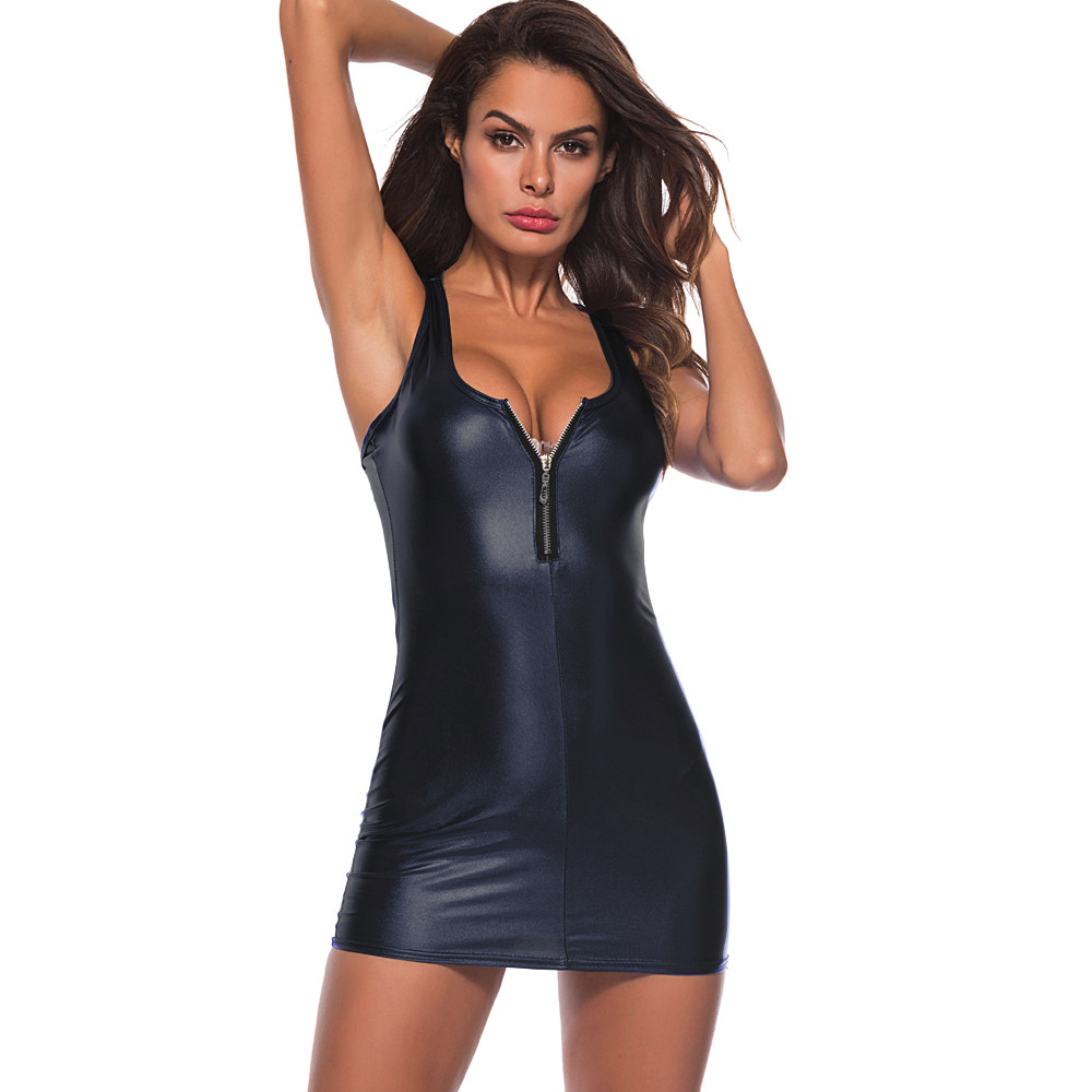 HTB19kMsw8mWBuNkSndVq6AsApXaw Women Dress Womens Clothing Artificial Leather Bodysuit Zipper Mini Dress Ladies Tank V Neck Club WeaBodycon Midi Dresses #YL