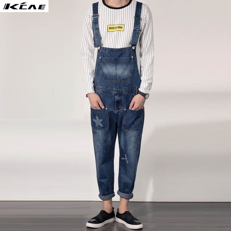 Boyfriend Jeans Men's Ripped Jeans Casual Front Pocket 2016 New Blue Denim Overalls Male Suspenders Bib Jeans Jumpsuit denim overalls male suspenders front pockets men s ripped jeans casual hole blue bib jeans boyfriend jeans jumpsuit or04