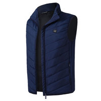 Electric Vest Heated Down Cotton 5 12v USB Warm Thermal Body Warmer Hot Compress Navy Blue Winter Physiotherapy Clothing 2018