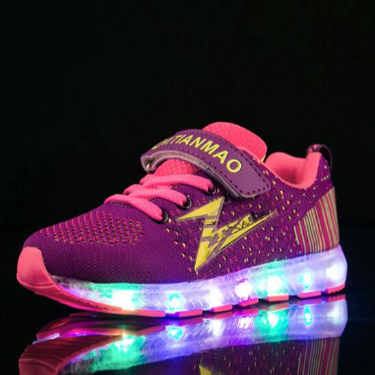 NEW Glowing Sneakers Child Mesh Shoes Children Boys USB Charging Light Shoes Girls Lighted Luminous Kids Size 25-36 04 2018 new kids glowing sneakers with light spiderman usb charging luminous lighted sneakers boy girls colorful led children shoes