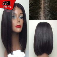 "8-12"" Silky Straight Brazilian Silk Base Human Hair Bob Wig Glueless Silk Top Full Lace Wigs Lace Front Bob Wig For Black Women"