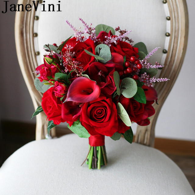 Janevini Vintage Red Roses Bridal Bouquet Artificial Calla Lily Bride Hand Wedding Flowers Bouquets Ramillete