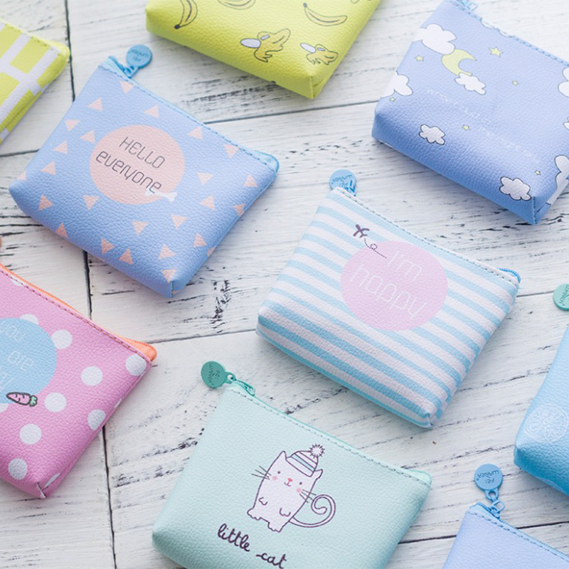 Coin Purse PU Leather Small Fresh Casual Girl Zipper Wallet Student Coin Wallet Lady Fashion Fruits Pattern Cartoon Money Bag