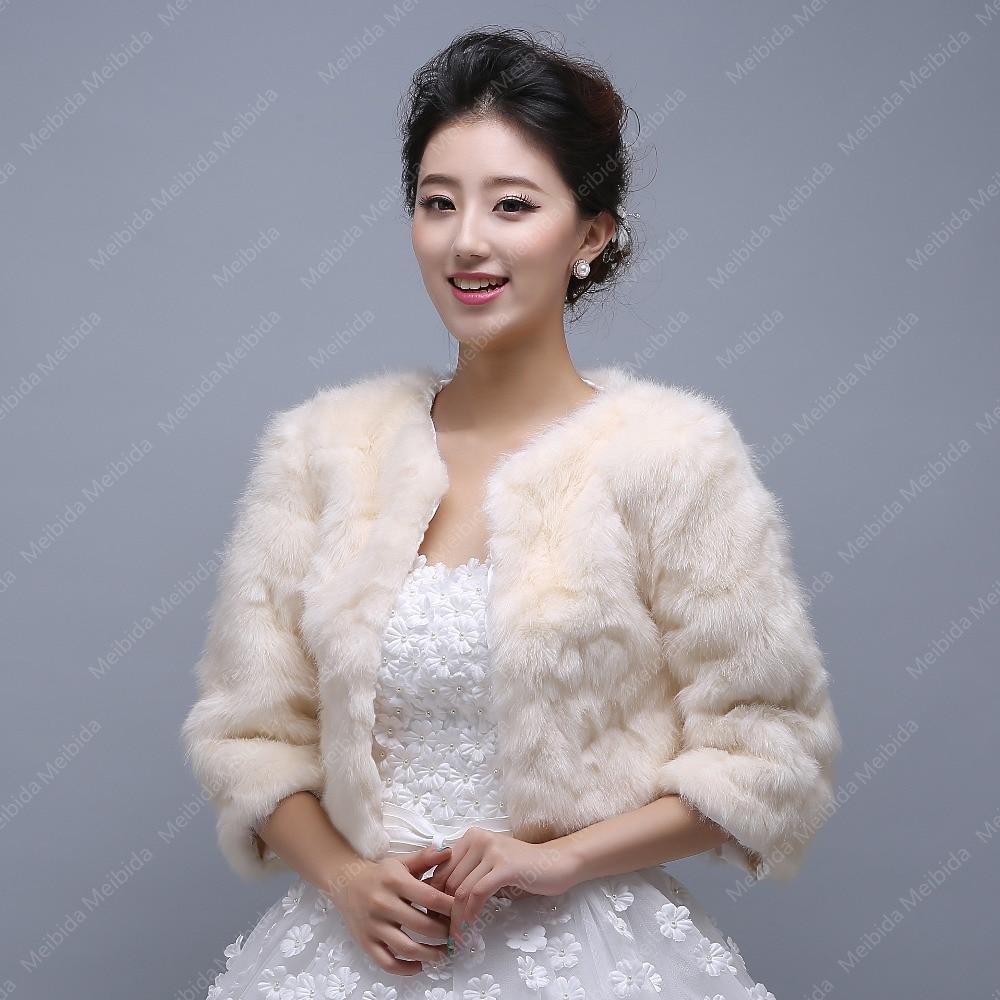 aliexpresscom buy champagne fur bolero wedding jacket with sleeves 2015 winter wedding coat women bolero faux fur bridal wraps wedding accessories from