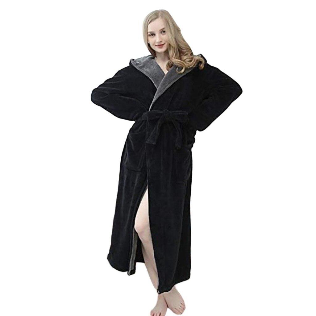 Winter Bathrobe For Woman Hoodie Women Soft Spa Full Length Warm Light Cashmere Plus Size Bathrobe