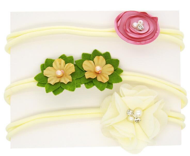Cute 3pcs Flower Crown Headwear Girl Flower Tie Back Halo