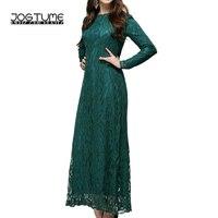 JOGTUME תחרה מוסלמית העבאיה אסלאמית 2017 אופנה נשים גלימות ערביות גבירותיי שרוול ארוך שמלת קפטן מקסי השמלה ירוק שחור אדום ורוד