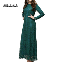Amoyblue Lace Muslim Arab Robes 2017 Fashion Women Islamic Abaya Kaftan Dress Long Sleeve Ladies Maxi