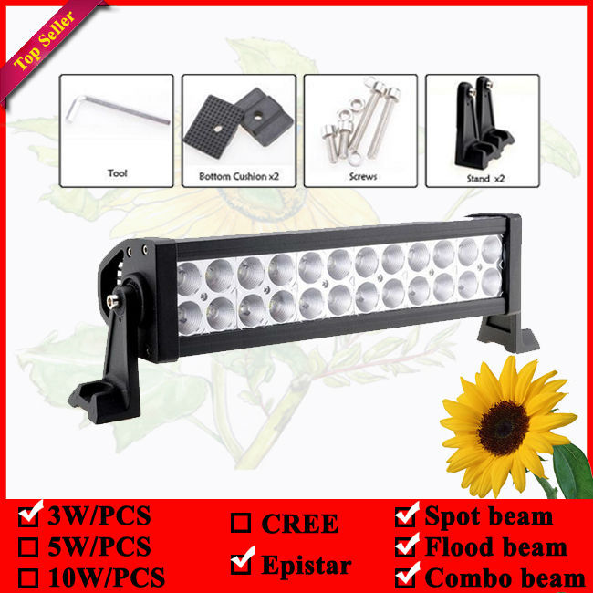 13 inch 72W LED Work Light Bar 24leds for Tractor Boat Off Road 4WD 4x4 Truck SUV ATV Spot Flood Combo 12v 24v Led offroad bar tripcraft 12000lm car light 120w led work light bar for tractor boat offroad 4wd 4x4 truck suv atv spot flood combo beam 12v 24v