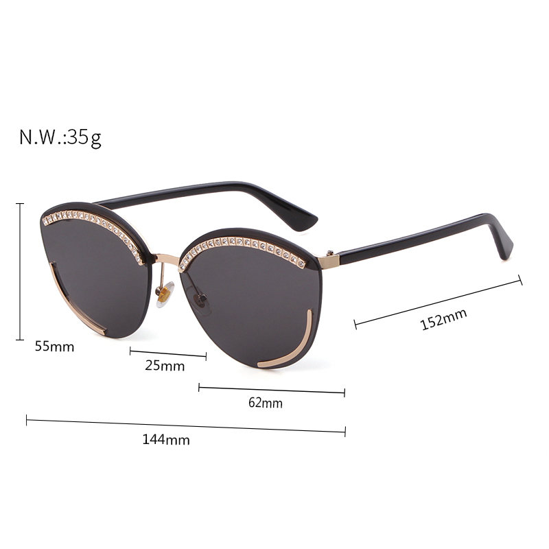 2aeb5d21d9e4 2019 Diamond Cat Eye Sunglasses Brand Design Vintage Oversized Frameless  Frame Cateye Sun Glasses Shades Women OM794