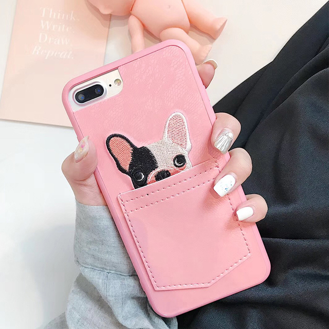 Soft Silicone French Bulldog in Pocket Embroidered iPhone Case