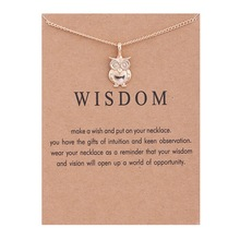 Fashion Jewelry New Gold Color Wisdom Owl Alloy Clavicle Bones Pendant Short Necklace For Women