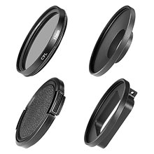 52mm Black Metal Glass Circular Polarizing CPL Lens Filter Set with Filter Adapters and Protecting Cap for GoPro Hero3+/4
