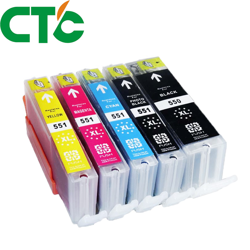 5 Pack PGI 550 CLI551XL Ink Cartridge Compatible for Canon Pixma IP7250 MG5450 MX925 MG5550 MG6450 MG5650 MG6650 IX6850 MX725