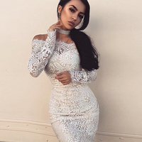 2017 Newest Autumn Women Bandage Dress Sexy White Long Sleeve Bodycon Lace Floral Print Dress Off