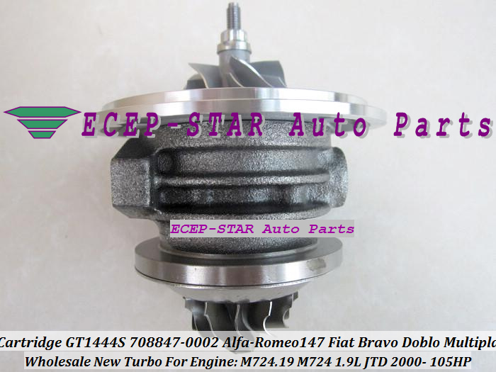 Turbo CHRA Cartridge Turbocharger Core GT1444S 708847-5002S 708847-0002 708847-0001 For Alfa-Romeo 147 Fiat Bravo Doblo Multipla 1.9L JTD 2000- (2)