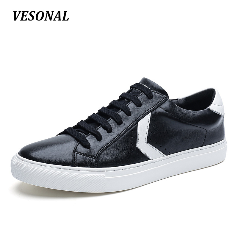 VESONAL Brand 100% Genuine Leather Flats Men Shoes Fashion Coordinates Designer Punching Breathable Mens Shoes Casual SD7088 top brand high quality genuine leather casual men shoes cow suede comfortable loafers soft breathable shoes men flats warm