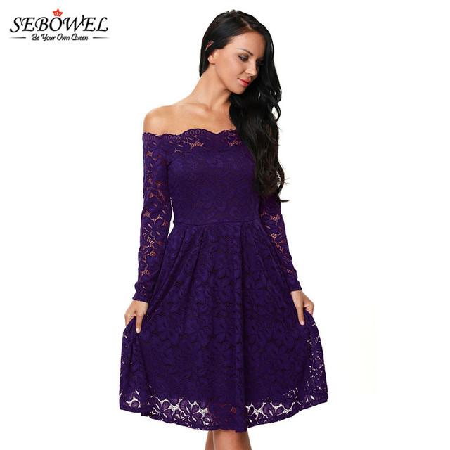095548a5445 Women Elegant Lace Dresses Spring Autumn Party Purple Long Sleeve Floral Boat  Neck Swing Dress Robes Femme Vestido Free Shipping