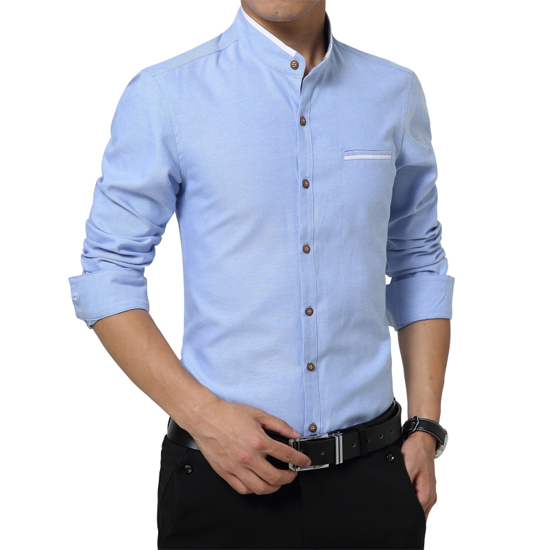 Long sleeve stand collar shirt men 2015 solid 100 cotton for Men slim fit shirts