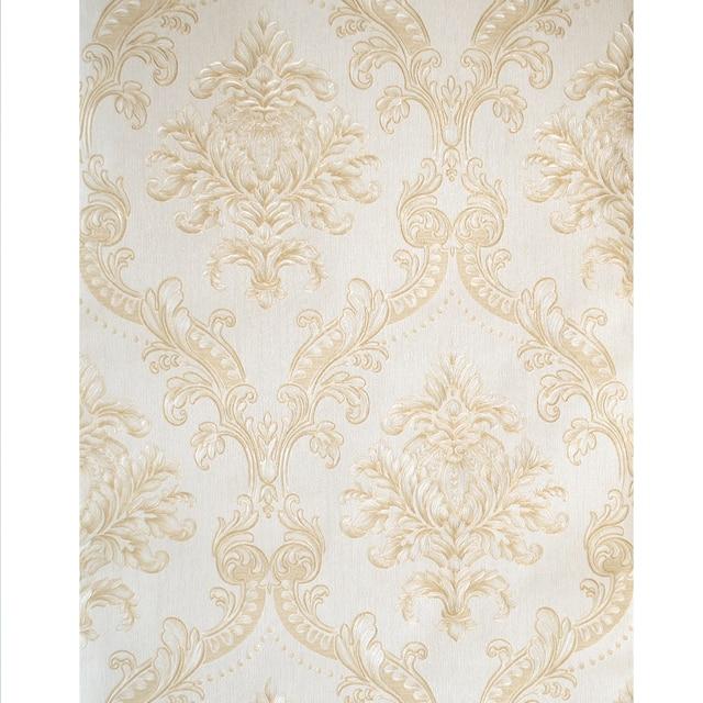 Gold White Damask Wallpaper Luxury Classic European Style